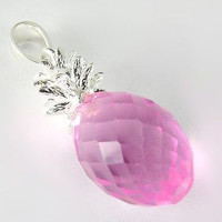 FACETED MEDIUM 3D PINK CRYSTAL HAWAIIAN PINEAPPLE PENDANT 925 STERLING SILVER