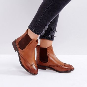 Dune Wide Fit Quentons Leather Chelsea Flat Ankle Boots at asos.com