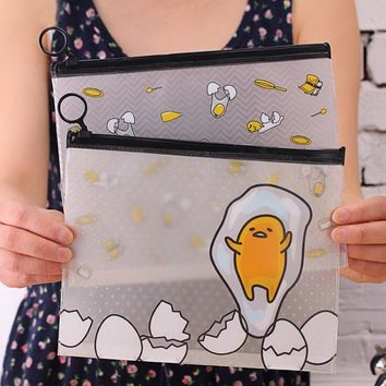 22*18 cm Novelty Gudetama Lazy Egg Cartoon PVC Document Bag File Folder Stationery Organizer