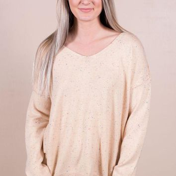 DCCKGE8 Speckled Sweater- Taupe