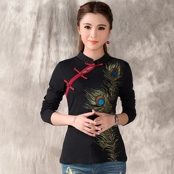 Chinese new year gift ethnic costumes women female ethnic vintage mandarin collar black peacock embroidery blouse shirt Alternative Measures