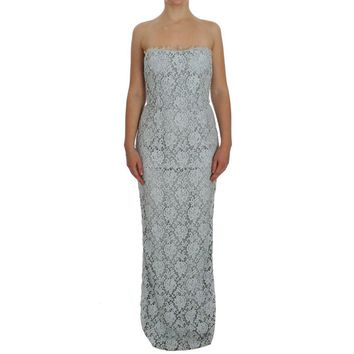 Dolce & Gabbana Blue Floral Lace Sheath Maxi Dress