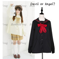 Devil or Angel? Cute Women's Japanese JK School Uniform Style Sailor Collar Cross & Wings Embroidery Trench Preppy Style Shirt