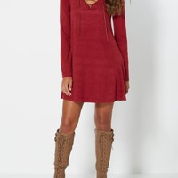 Burgundy Suede Lace-Up Shift Dress | Mini Dresses | rue21