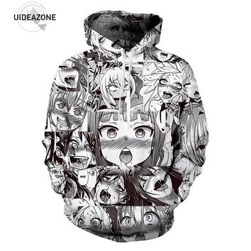 UIDEAZONE 2017 Ahegao Hoodies Funny Sweatshirt Autumn Winter Men's Pullovers Funny 3D Print Tracksuit Hispter Plus Size Dropship