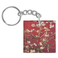 Almond Blossoms Red Vincent van Gogh Art Painting Double-Sided Square Acrylic Keychain