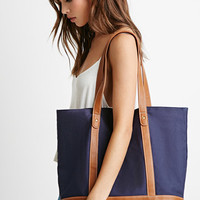 Faux Leather-Trimmed Canvas Tote