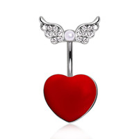 316L Surgical Steel Red Heart Navel Ring with Soaring Glass/Gemmed Wings and Pearl