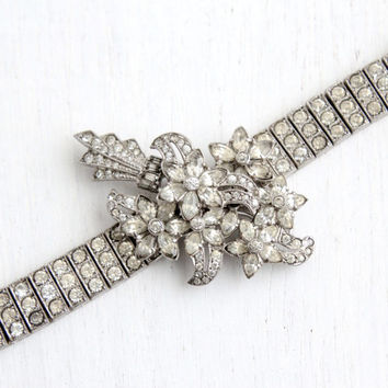Antique Art Deco Clear Rhinestone Bracelet- Vintage 1940s Hallmarked Otis Sterling Silver Floral Formal Jewelry