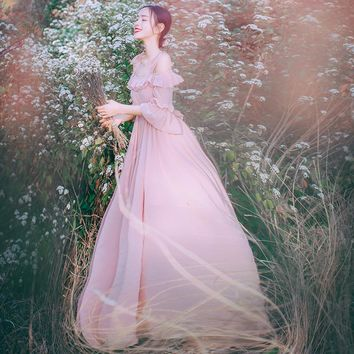 light pink/white slash collar chiffon vintage fairy long  medieval,Renaissance