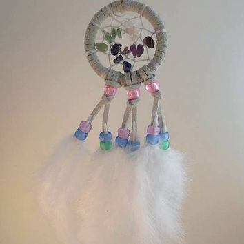 Rainbow gemstone dream catcher- extra small, white