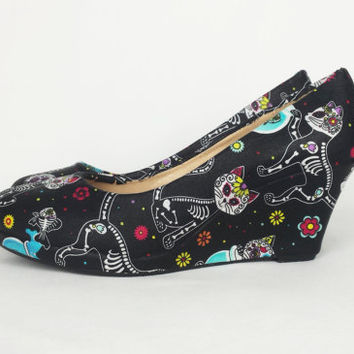 Candy cat shoes, skeleton black cat, cat print wedge shoes,custom shoes, skeleton cat, gothic shoes, cat shoes, goth, punk, boho alt shoes