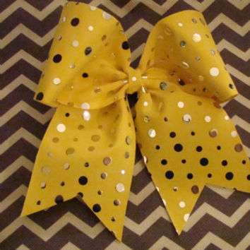 Yellow and Silver Spotted Cheer Bow by isparklethat on Etsy