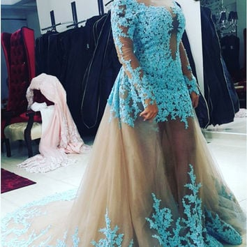 Appliques With Pearls Long Sleeve 2 Piece Prom Dress for graduation Removable Skirt Tulle Vestido Formatura Longo