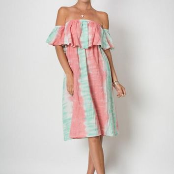 Pink & Mint Off The Shoulder Dress