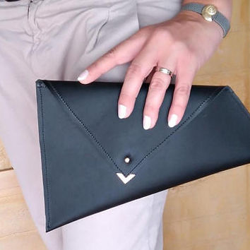 LEATHER CLUTCH , Leather black clutch , bridesmaid clutch , Black leather wallet , Black envelope pouch , Black Asymmetric clutch , gigt