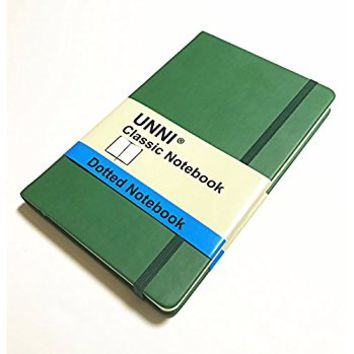 "UNNI Classic Notebook Journal, Size:8.25"" X 11.4"", A4, Green Color, Dotted Grid Page, 192 Pages, Hard Cover/Fine PU Leather, Inner Pocket, Premium Thick Paper - 100gsm 