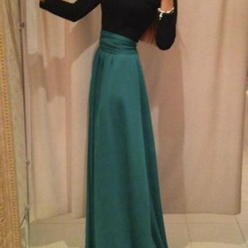 Green Patchwork Bow Peter Pan Collar Elegant Maxi Dress
