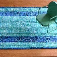 Quilted Table Runner, Reversible table runner, batik table topper
