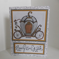 Fairytale Wedding Engagement Bridal Shower Handmade Greeting Card - Happily Ever After - Cinderella - Carriage - Princess