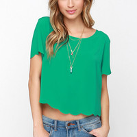 Wake Me Scallop Green Crop Top