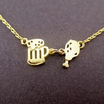 Fried Chicken Drumstick and Beer Food Themed Pendant Necklace in Gold