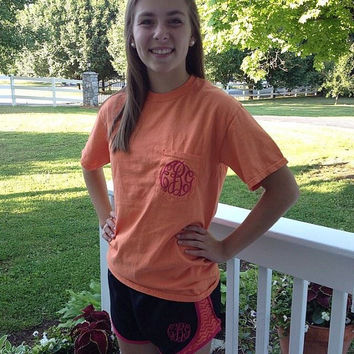 Monogrammed Chevron Running Short with Monogrammed Comfort Colors Tee
