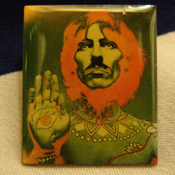 CLEARANCE The Beatles Altered Art Psychedelic George Harrison Badge Pin Brooch