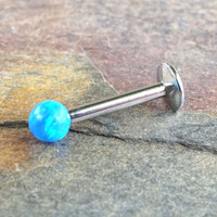 Turquoise Blue 16G Fire Opal Stud Cartilage Earring Internally Threaded Tragus Helix Monroe 16 Gauge Piercing