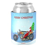 Christmas Santa Riding Chopper Bike With Red Hat Can Cooler