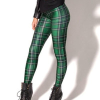 Green Plaid Print Leggings
