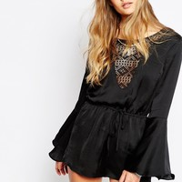 Band Of Gypsies Satin Plunge Neck Lace Playsuit at asos.com