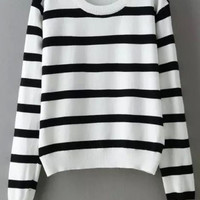 White Black Long Sleeve Striped Cropped Sweater