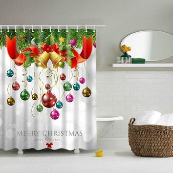 Bathroom Merry Christmas Design Waterproof Shower Curtain