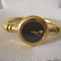 ESTATE VINTAGE MOVADO WATCH BANGLE BRACELET 88 E4 1847-B670 BLACK GOLD PLATED NR