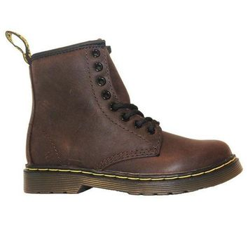 Dr Martens Kids Delaney   Dark Brown Softee Leather Lace Up Bootie
