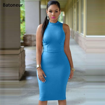 Batoneur Women Summer Dress 2017 New Fashion Hollow Out Sleeveless Pencil Plus Size Dress Knee Length Women Casual Dresses