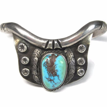 Vintage Native American Turquoise Feather Cuff Bracelet 6 Inches