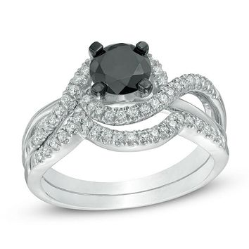 1-1/5 CT. Black and White Diamond Swirl Bridal Engagement Ring Set in 14K White Gold