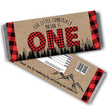 Lumberjack Candy Bar Wrapper - Lumberjack 1st Birthday Candy Wrappers - Lumberjack Birthday Party Favors - Kraft Red Flannel - Little Man