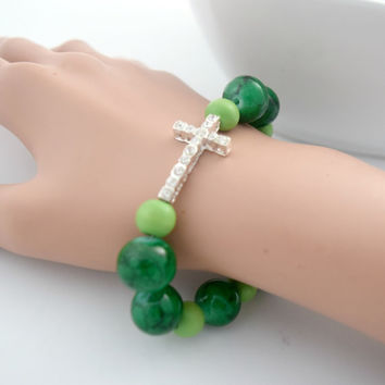 Green Christian Cross Bracelet, Christian Jewelry For Her, Christian Bracelet, Green Bracelet, Cross Jewelry, Spring Jewelry