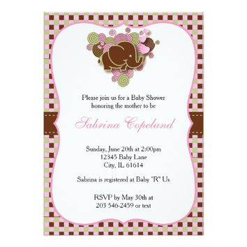 It's A Girl | Baby Elephant 5x7 Paper Invitation Card
