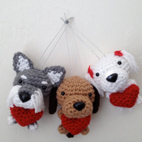 Custom Amigurumi Dog with a heart Crochet Puppy Handmade Plush Doll / Made to Order