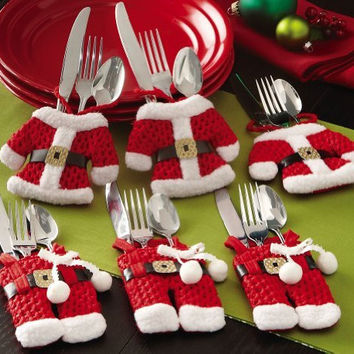 Pants Jackets Red White Santa Suit Silverware Holders 6 pc Set