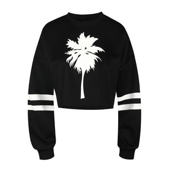 Women's Palm Tree White Stripes Printed Black Winter Fitness Fashion Crop Top Sweatshirt