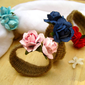 SET of 12 Rustic Cottage Chic Rose Napkin Rings Holiday Dinner Wedding Accessories Place Setting
