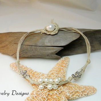 Handmade Natural Hemp Pearl with Silver Beads Bohemian Necklace Beach Wedding Jewelry Pearl Necklace Multi Stand Necklace