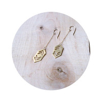 Sahtira Brass Dangle Earring: Gold fill chain Silver fill Earwires, Double Chevron Pointed Earring