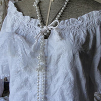 Gypsy boho bohemian white peasant top