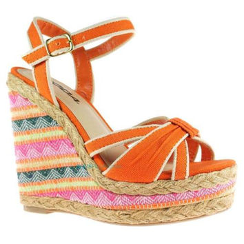 Tassel Coral Espadrille Platform Wedge Native Tribal Stitching Pattern Sandal